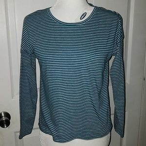 Nwt turquoise gray stripe top size large 10 12